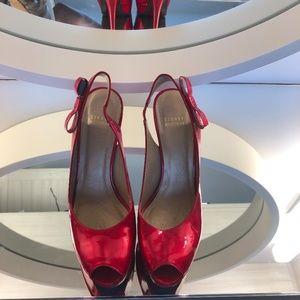 Stuart Weitzman Red Patent leather peep toe